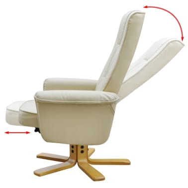 Cream White TV Armchair Recliner Artificial Leather with Footstool[3/8]