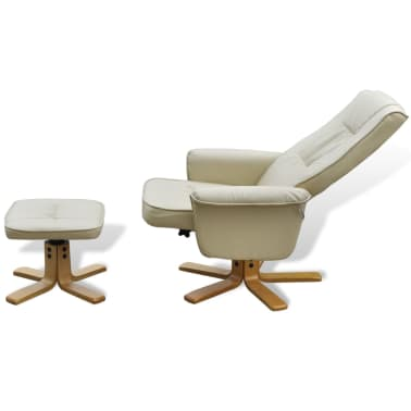Cream White TV Armchair Recliner Artificial Leather with Footstool[5/8]