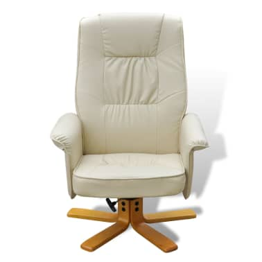 Cream White TV Armchair Recliner Artificial Leather with Footstool[7/8]
