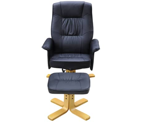 Black TV Armchair Recliner Artificial Leather with Footstool[2/8]