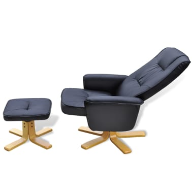 Black TV Armchair Recliner Artificial Leather with Footstool[5/8]