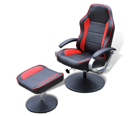 Black and Red TV Armchair Recliner Artificial Leather with Footstool[1/6]