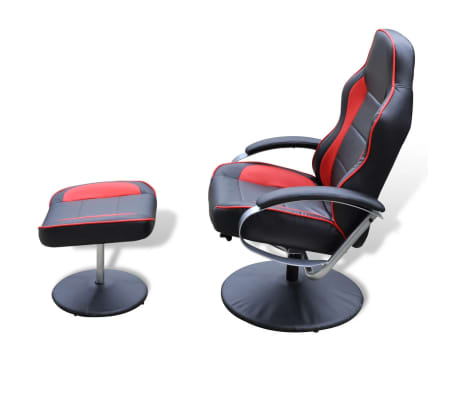 Black and Red TV Armchair Recliner Artificial Leather with Footstool[3/6]