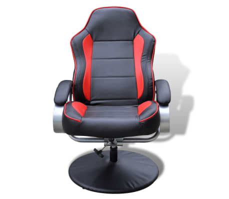 Black and Red TV Armchair Recliner Artificial Leather with Footstool[5/6]