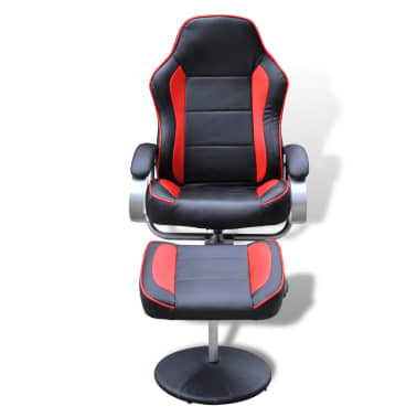 Black and Red TV Armchair Recliner Artificial Leather with Footstool[2/6]