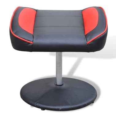Black and Red TV Armchair Recliner Artificial Leather with Footstool[4/6]