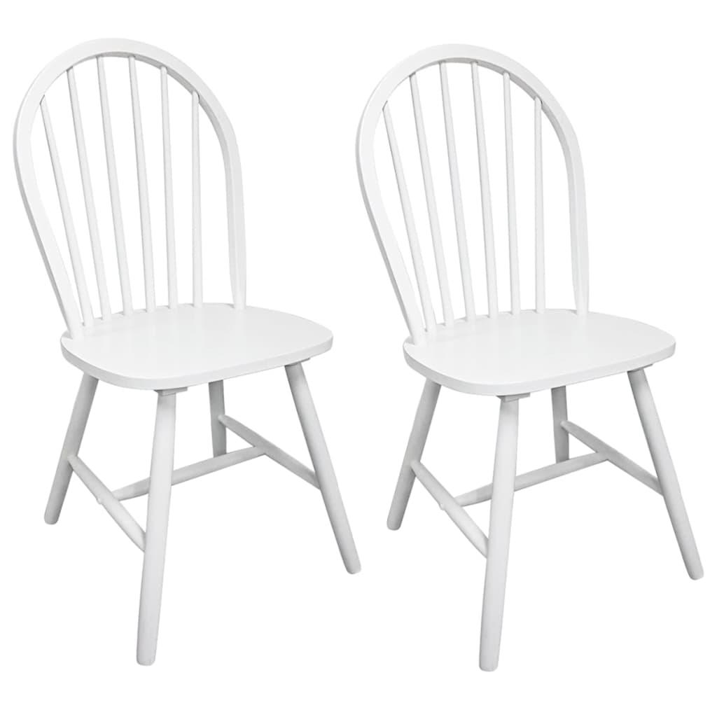 vidaXL Καρέκλες Τραπεζαρίας 2 τεμ. Λευκές από Μασίφ Ξύλο