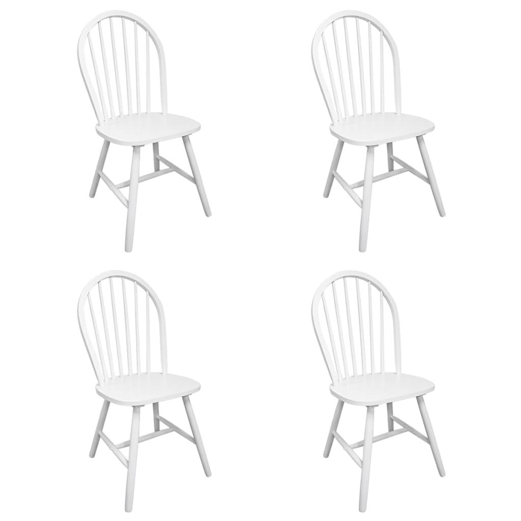 vidaXL Καρέκλες Τραπεζαρίας 4 τεμ. Λευκές από Μασίφ Ξύλο