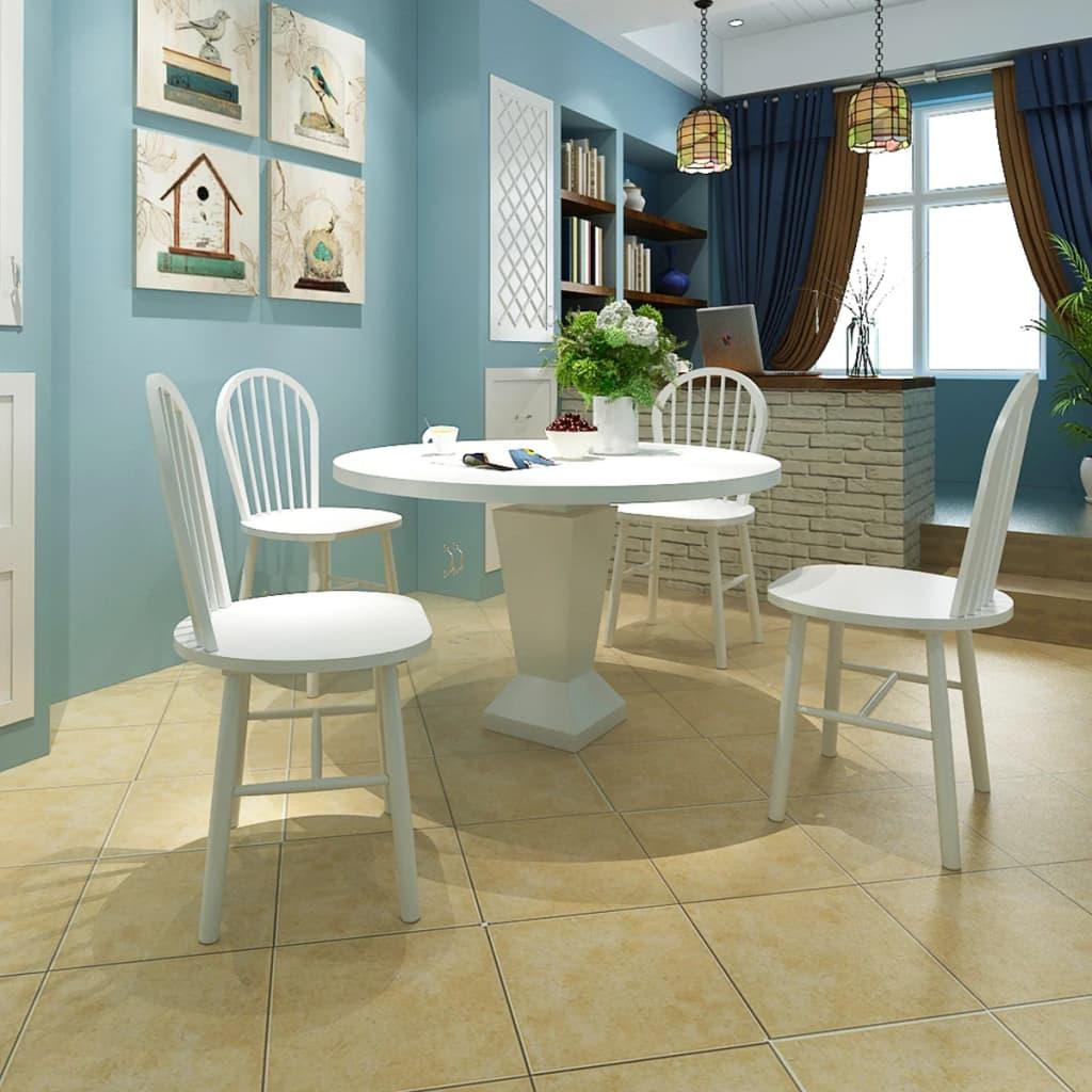 vidaXL Jídelní židle 4 ks dřevěné bílé kulaté