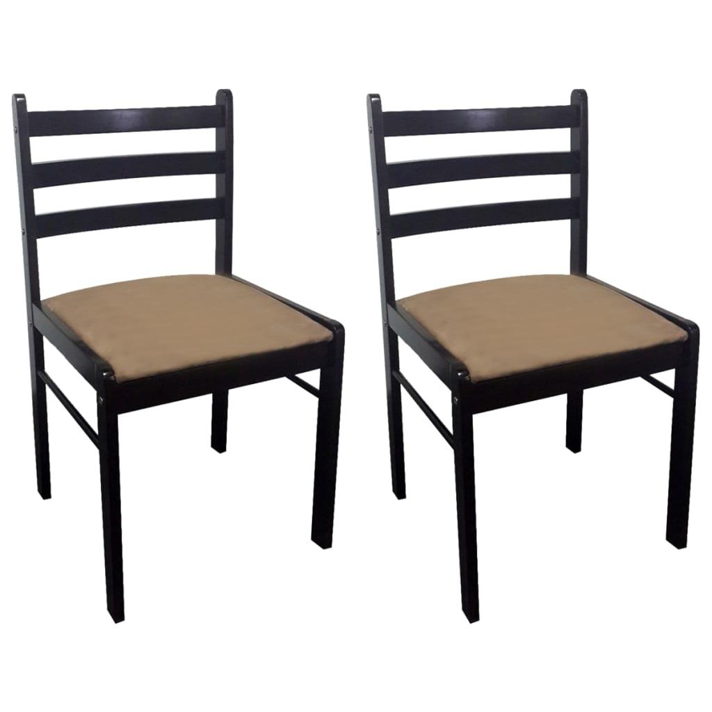 vidaXL Καρέκλες Τραπεζαρίας 2 τεμ. Καφέ Καουτσουκόδεντρο/Βελούδο