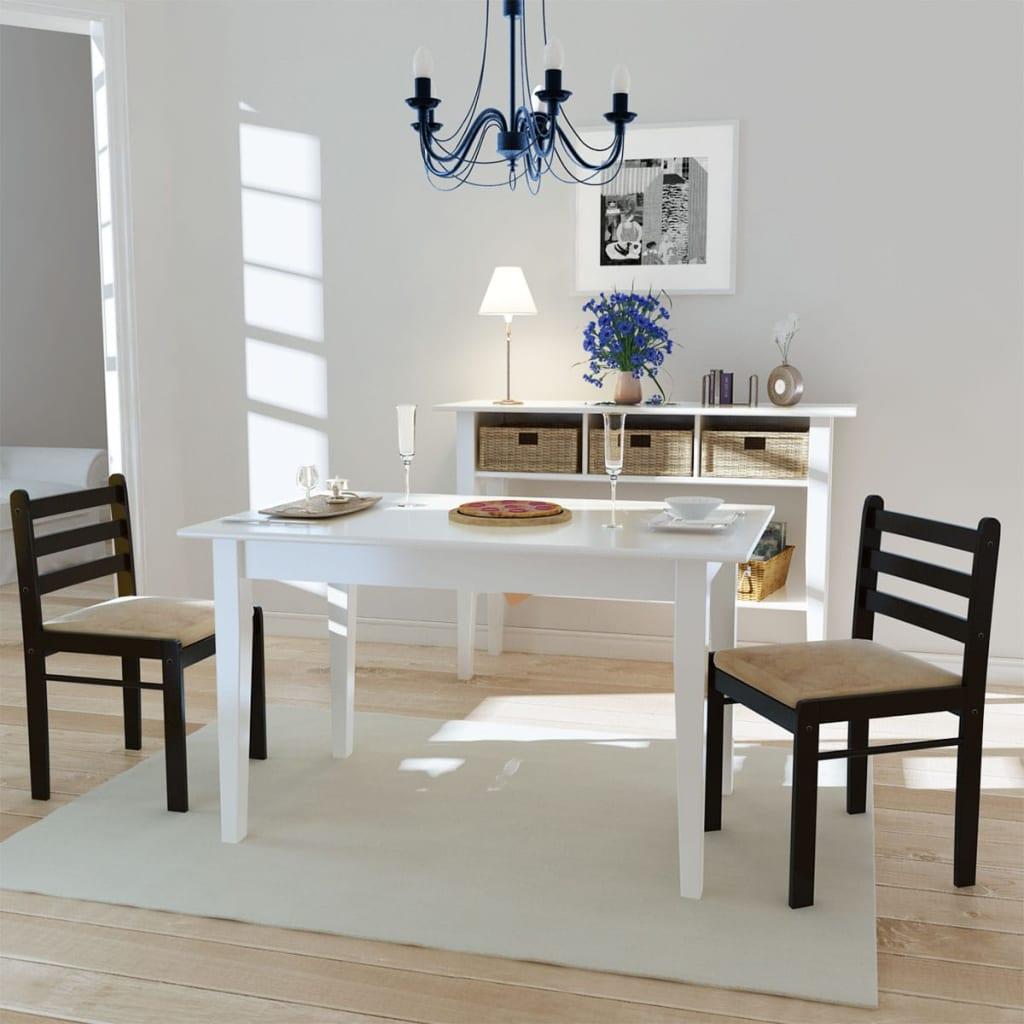 vidaXL Jídelní židle 2 ks hnědé masivní kaučukovníkové dřevo a samet