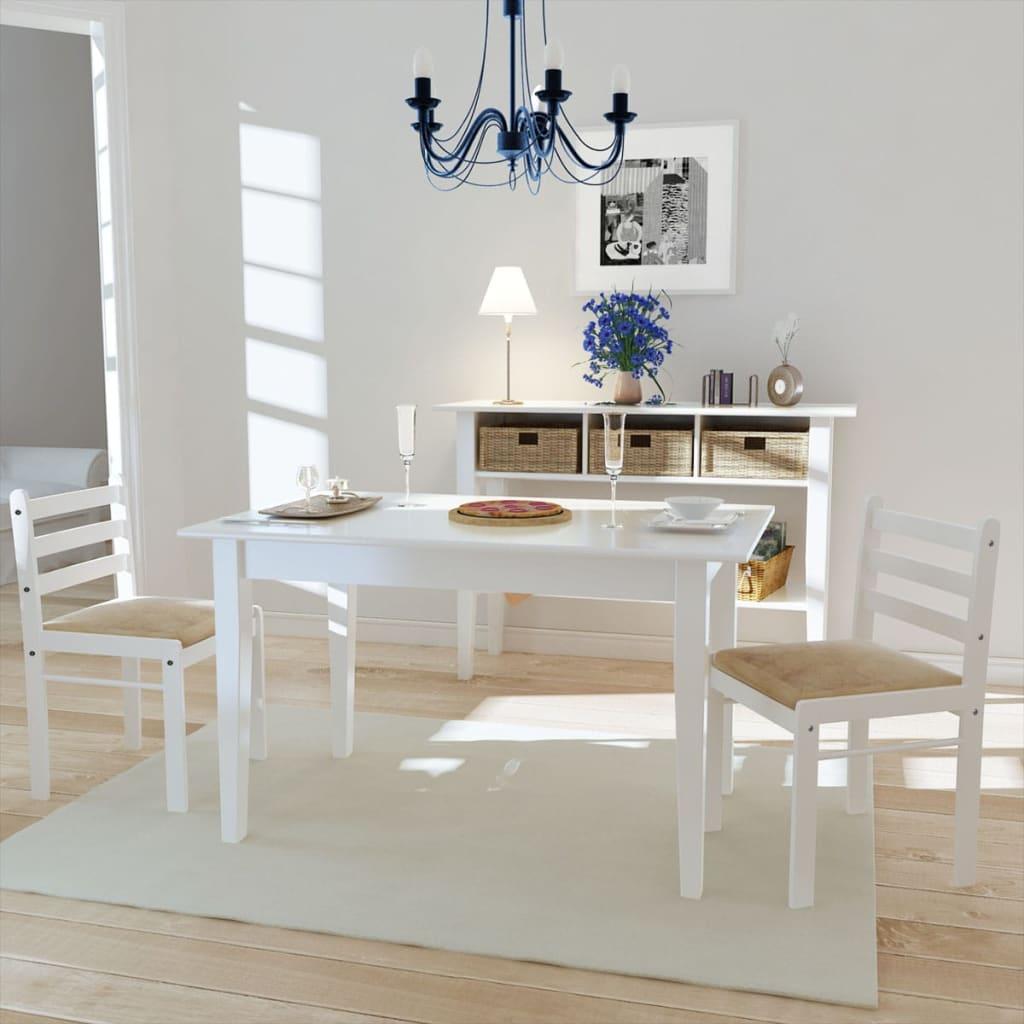 vidaXL Jídelní židle 2 ks bílé masivní kaučukovníkové dřevo a samet