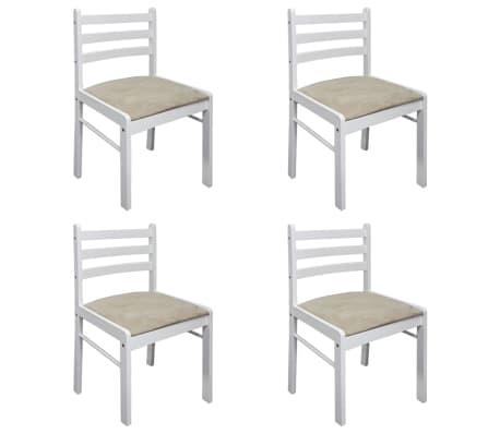 vidaXL Krzesła stołowe, 4 szt., białe, drewno kauczukowe i aksamit