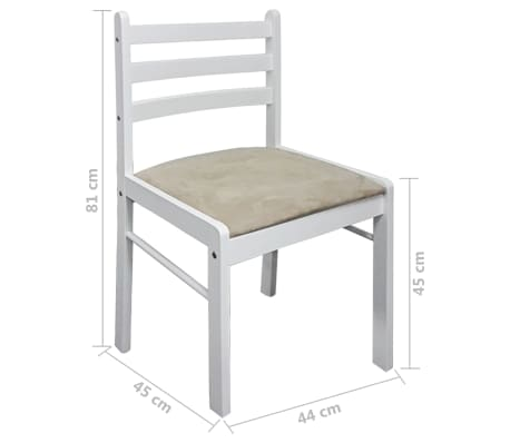 vidaXL Krzesła do jadalni, 4 szt., drewniane, kwadratowe, białe[6/6]