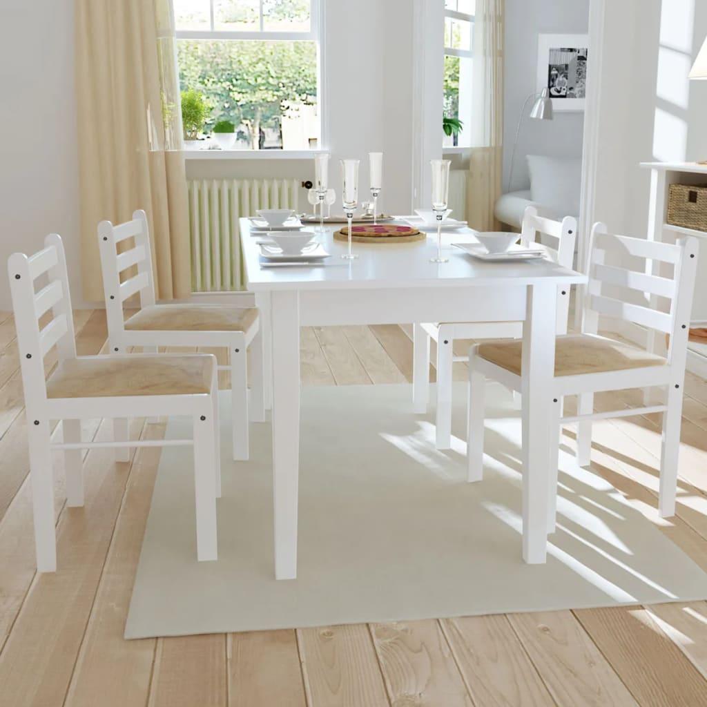 vidaXL Jídelní židle 4 ks dřevěné bílé čtvercové