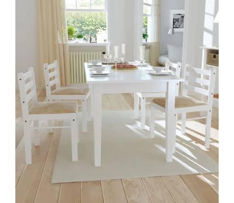 vidaXL Krzesła do jadalni, 4 szt., drewniane, kwadratowe, białe[1/6]