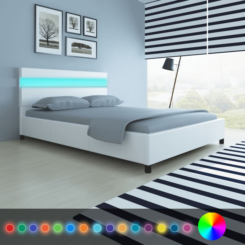 vidaXL Bedframe met LED-hoofdeind kunstleer wit 140x200 cm