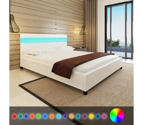Vidaxl letto con led 160 x 200 cm in pelle artificiale bianca - Letto pelle bianca ...