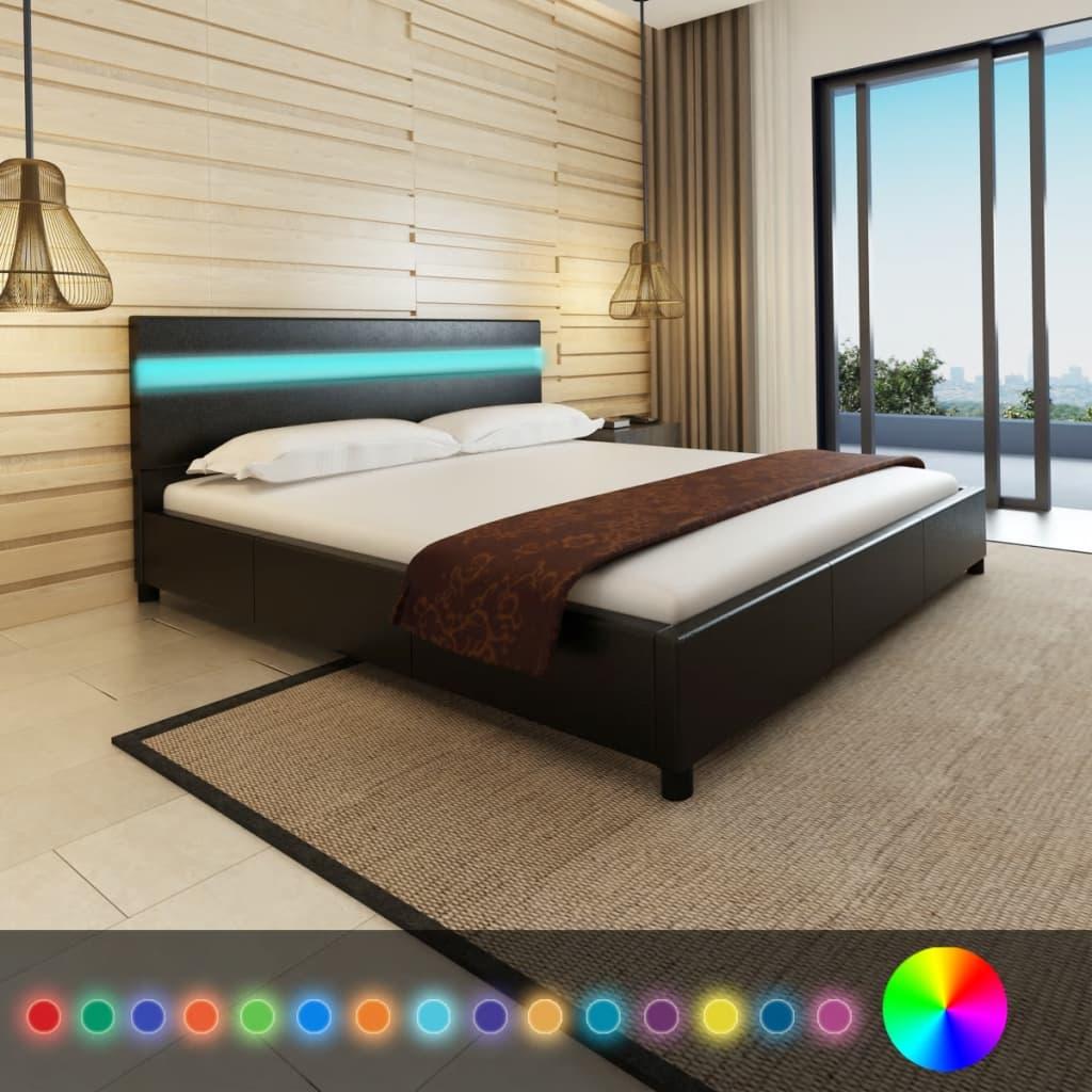 vidaXL Cadru de pat cu LED, negru, 180 x 200 cm, piele artificială vidaxl.ro