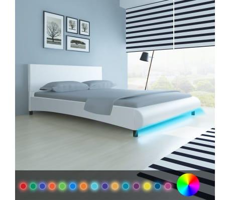 vidaXL Lova su LED, 160 x 200 cm, dirbtinė oda, balta[3/11]
