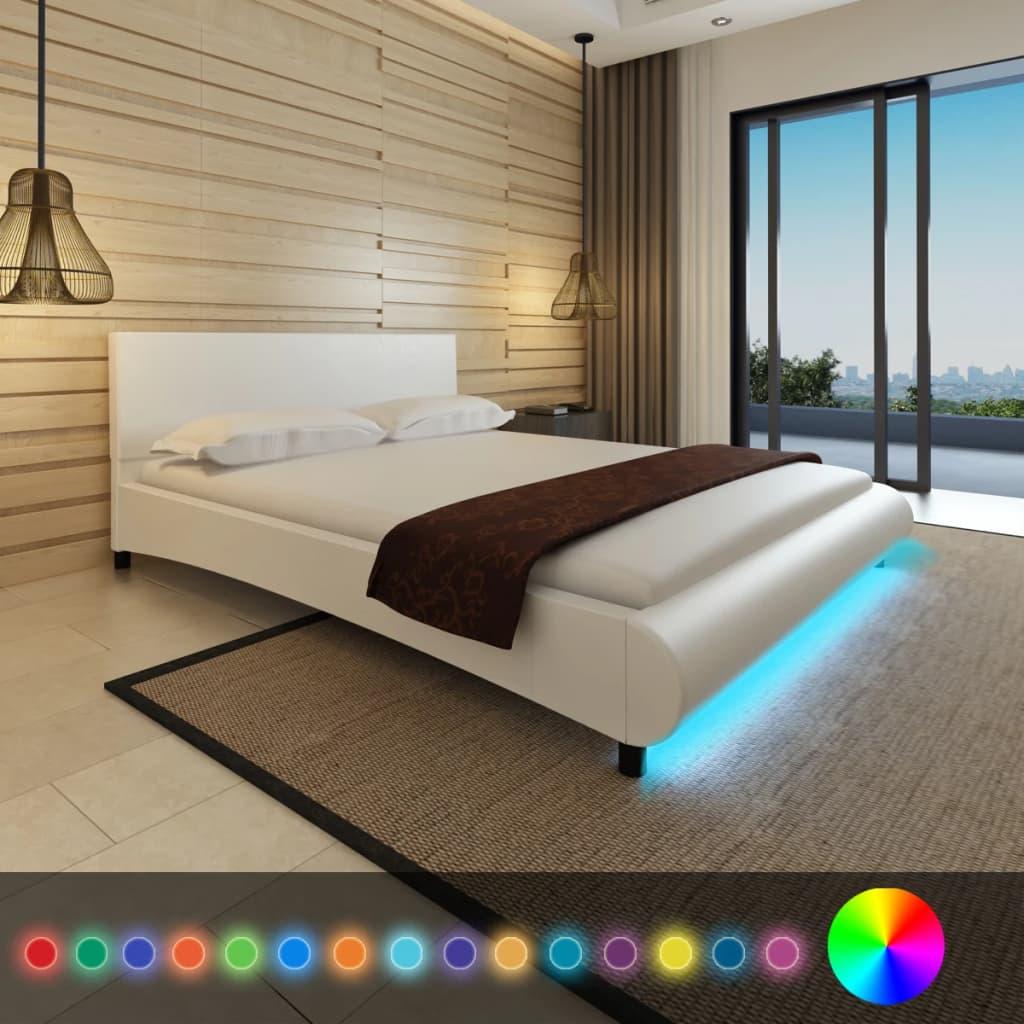 vidaXL Cadru de pat cu LED, alb, 160 x 200 cm, piele artificială poza 2021 vidaXL