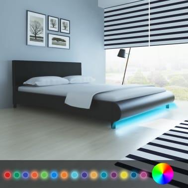 acheter vidaxl lit avec led 160 x 200 cm cuir artificiel noir pas cher. Black Bedroom Furniture Sets. Home Design Ideas