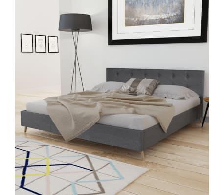 Łóżko z drewnianą ramą z materiałowym CIEMNO SZARYM obiciem 200x160 cm[3/9]