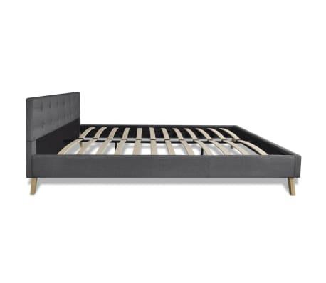 Łóżko z drewnianą ramą z materiałowym CIEMNO SZARYM obiciem 200x160 cm[6/9]