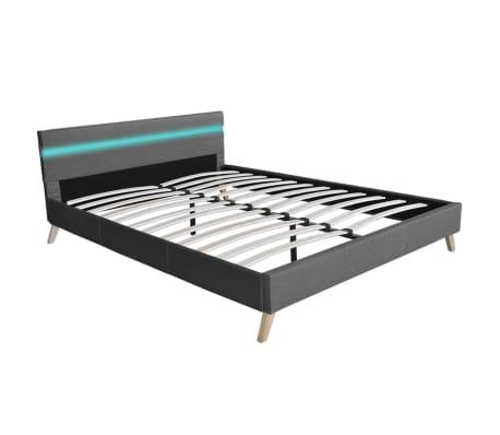 vidaXL Lovos rėmas su LED juosta, šv. pilkas, 140x200 cm, audinys