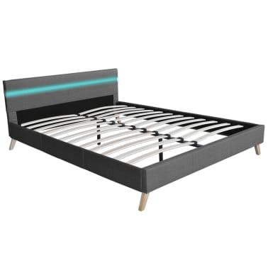 vidaXL Lovos rėmas su LED juosta, šv. pilkas, 140x200 cm, audinys[1/10]