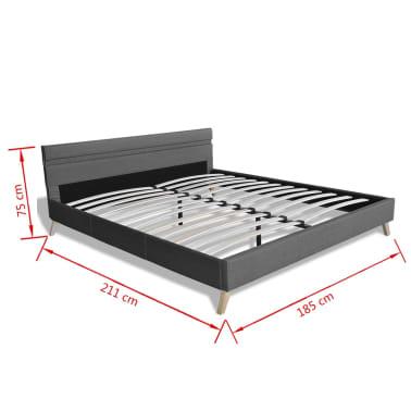 vidaXL Lovos rėmas su LED juosta, šviesiai pilkas, 180x200 cm, audinys[11/11]