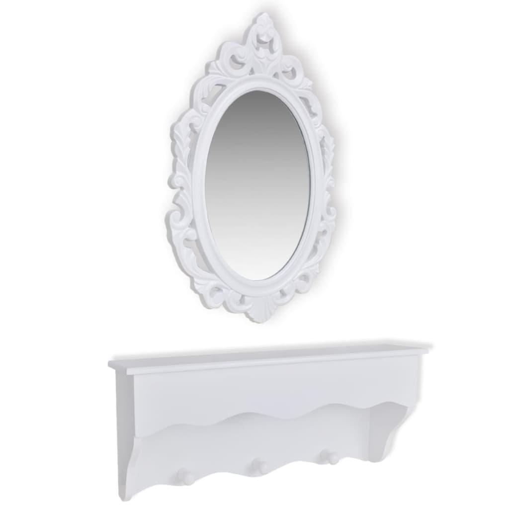 Afbeelding van vidaXL Muurschap voor sleutels en sieraden met spiegel en haken