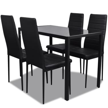 Contemporary Dining Set with Table and 4 Chairs Black[2/4]