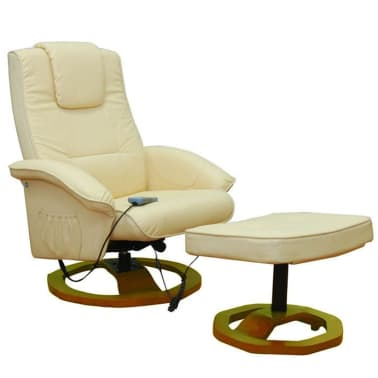 vidaXL Electric Massage Chair with Footstool Artificial Leather Cream[1/4]