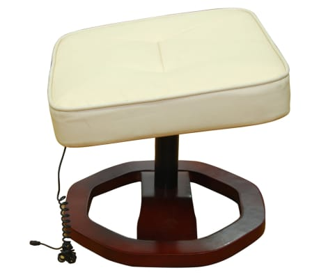 vidaXL Electric Massage Chair with Footstool Artificial Leather Cream[2/4]