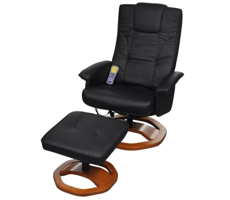 vidaXL Electric Massage Chair with Footstool Artificial Leather Black[1/7]