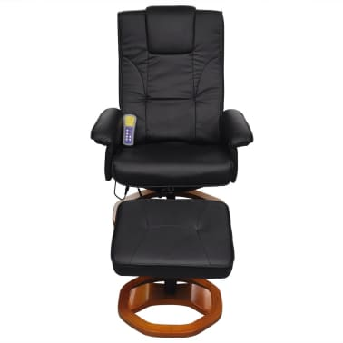 vidaXL Electric Massage Chair with Footstool Artificial Leather Black[2/7]