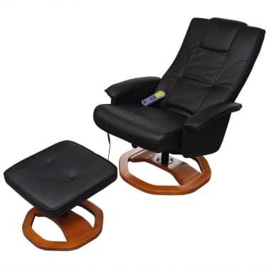 vidaXL Electric Massage Chair with Footstool Artificial Leather Black[4/7]