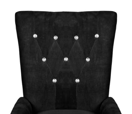 Luxury Armchair Velvet-coated Black[3/5]
