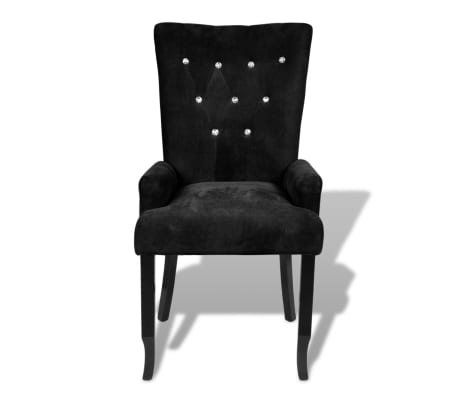 Luxury Armchair Velvet-coated Black[5/5]