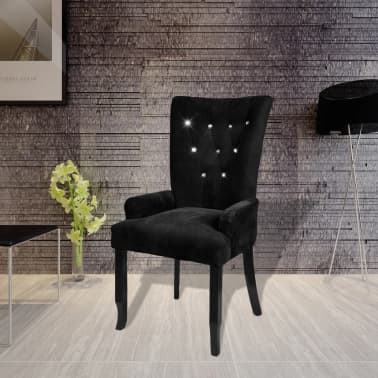 Luxury Armchair Velvet-coated Black[1/5]