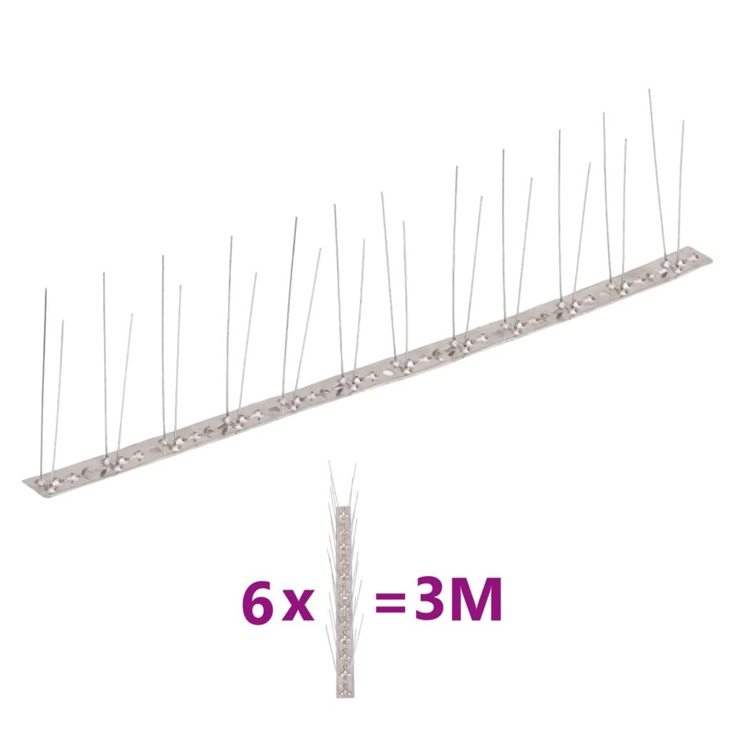 vidaXL Set bandă cu țepi antipăsări cu 2 rânduri, 6 buc., oțel, 3 m poza 2021 vidaXL