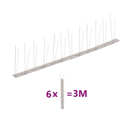 vidaXL 2-row Stainless Steel Bird & Pigeon Spikes Set of 6[1/4]