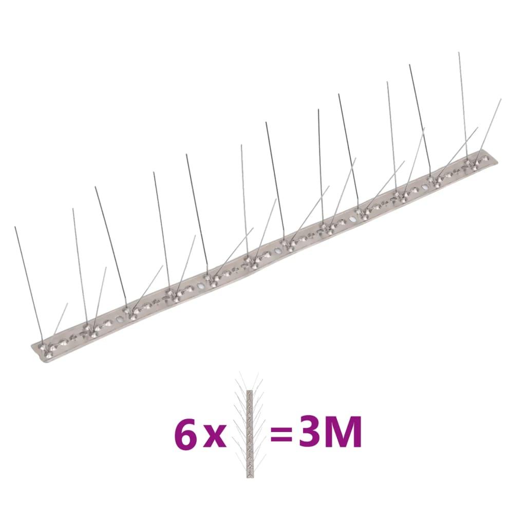 vidaXL Set bandă cu țepi antipăsări cu 4 rânduri, 6 buc., oțel, 3 m poza 2021 vidaXL