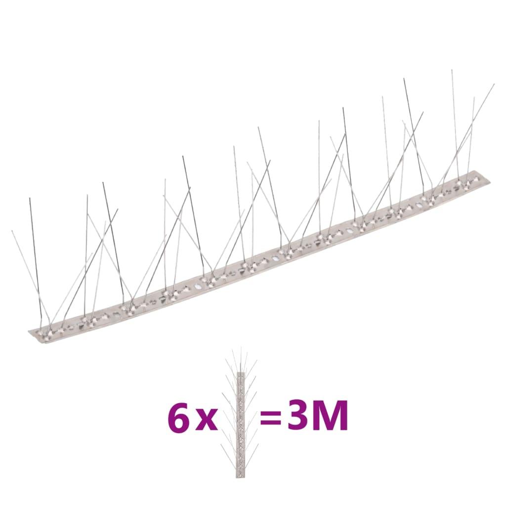 vidaXL Set bandă cu țepi antipăsări cu 5 rânduri, 6 buc., oțel, 3 m poza 2021 vidaXL