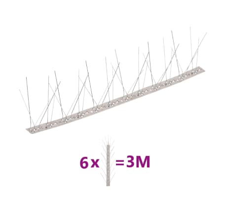 5-row Stainless Steel Bird & Pigeon Spikes Set of 6[1/4]