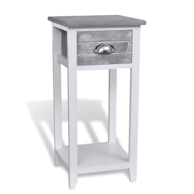 vidaXL Nightstand with 1 Drawer Grey and White[2/6]