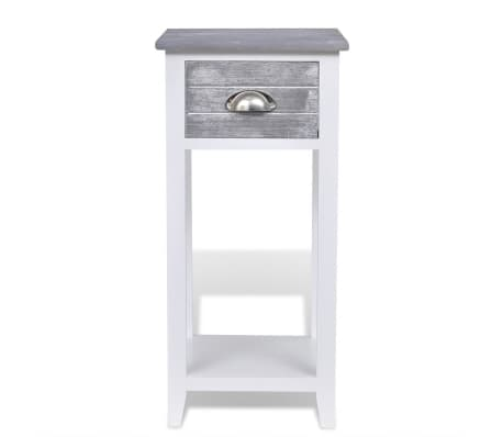 vidaXL Nightstand with 1 Drawer Grey and White[5/6]