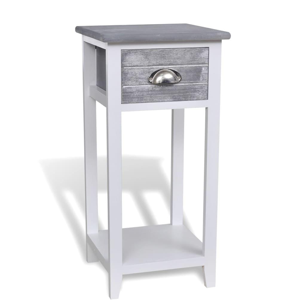 Noční stolek / Telefonní stojan s 1 zásuvkou šedý / bílý
