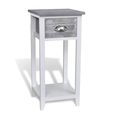 vidaXL Nightstand with 1 Drawer Grey and White[1/6]
